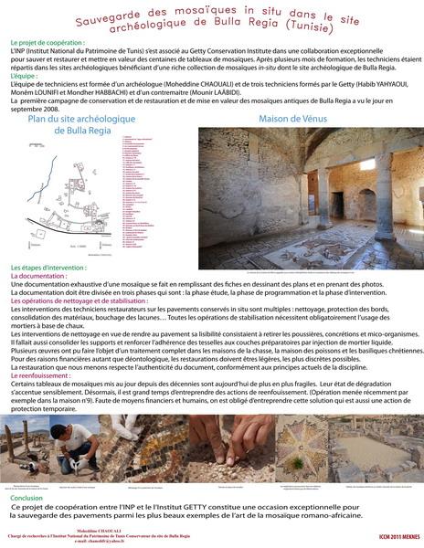 Chaouali_Sauvegarde et mise en valeur des mosaiques in situ dans le site archeologique de Bulla Regia, Tunisie