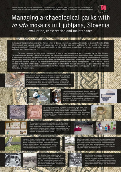 Zupanek and Toman-Kracina_Managing archaeological parks with in situ mosaics in Ljubliana, Slovenia. Evaluation, conservation and maintenance