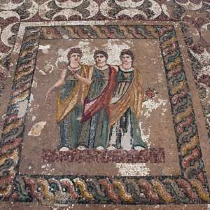Emblema of one of the most significant mosaics at the site of Paphos, Cyprus